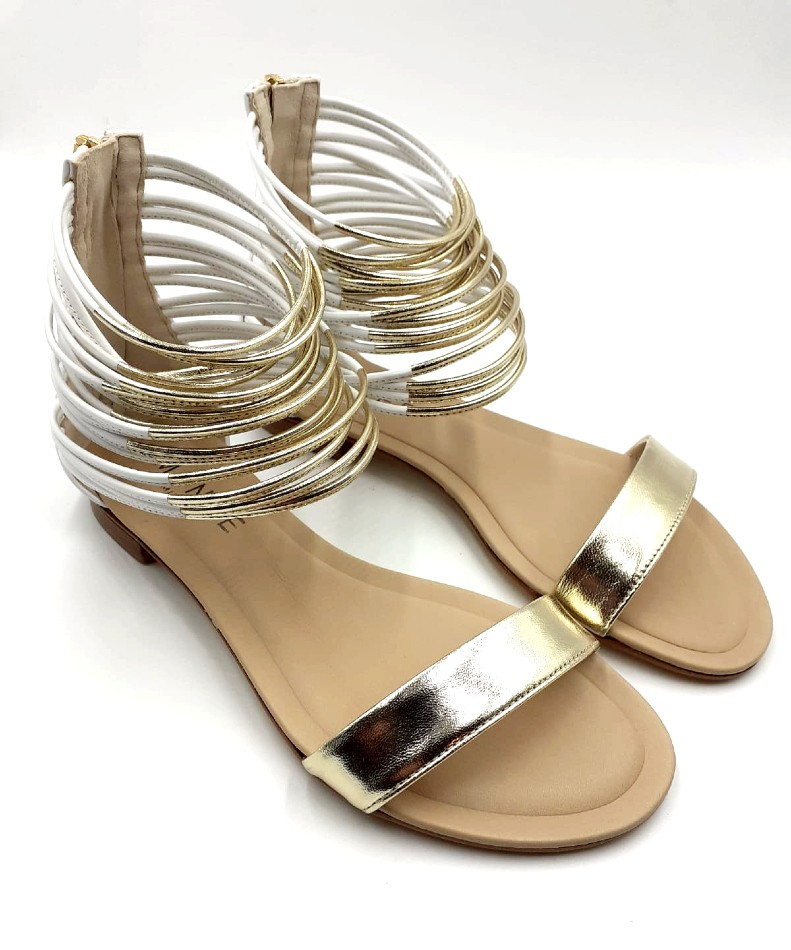 Ladies White and Gold Leather Sandals